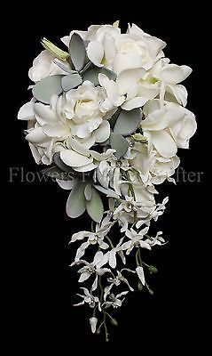 White Roses, Orchids & Frangipani Bunch Wedding Bouquet Fake Wedding Flowers