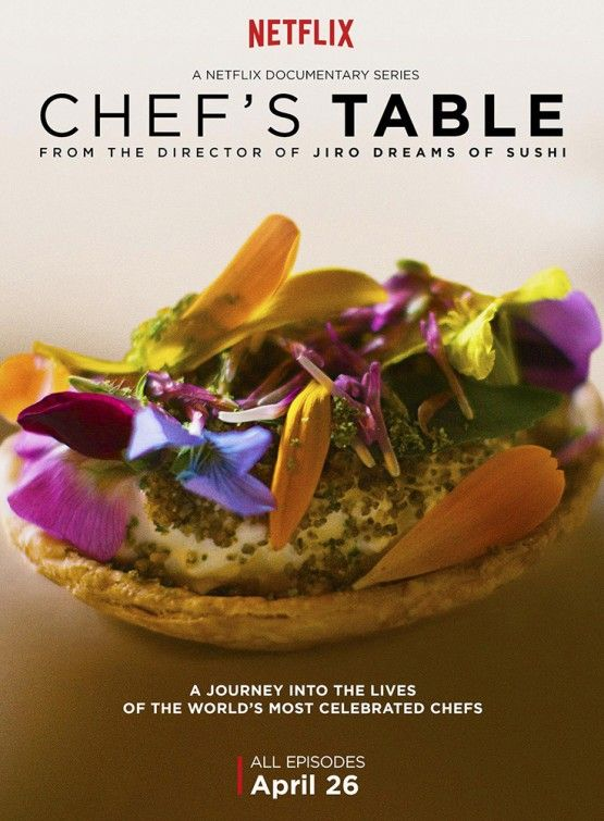 'Chef's Table' (2015) by David Gelb. A Netflix Original. A beautifully woven piece of magic. A fascinating insight into 6 world-class chefs chronicling their beginnings in life, their relationship with food and a doors-open/look into their art. Each of the 6 episodes are stunning to look at as well as being both engaging and relaxing. Storytelling done properly.
