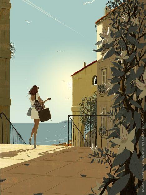Girl in Summer, illustration, portrait, painting / Ragazza in estate, dipinto, illustrazione, disegno - by Matthieu FORICHON