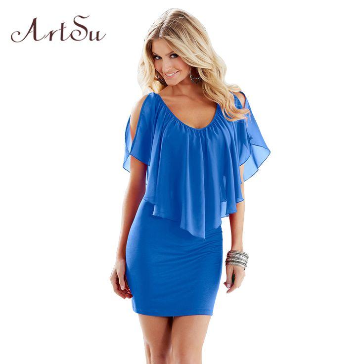 Summer Sexy Club Party Dresses Women Clothing 2017 New Style Blue Round Neck Sleeveless Ruffle Chiffon Short Dress  DR50128