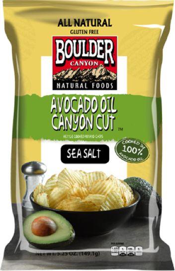 Boulder Canyon™ Canyon Cut™ Avocado Oil chips. Non GMO Gluten Free