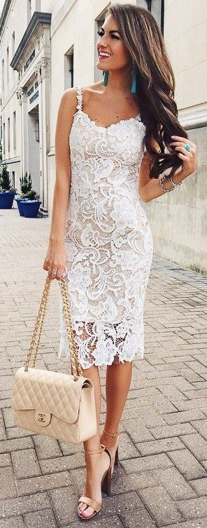 Just a pretty style | Latest fashion trends: Chic look | White lace dress with neutral handbag and heeled sandals