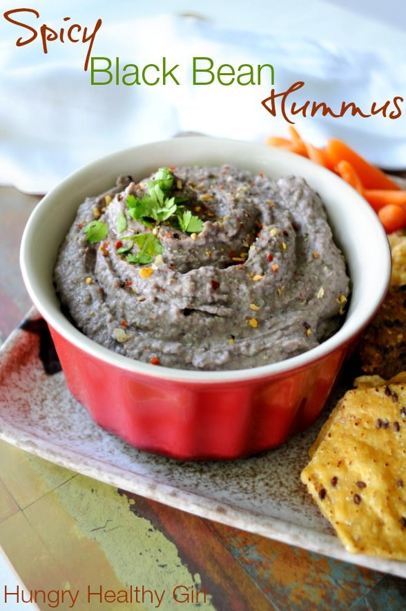 Spicy Black Bean Hummus - a super easy and healthy dip that pairs perfectly with crackers, chips and/or fresh veggies.