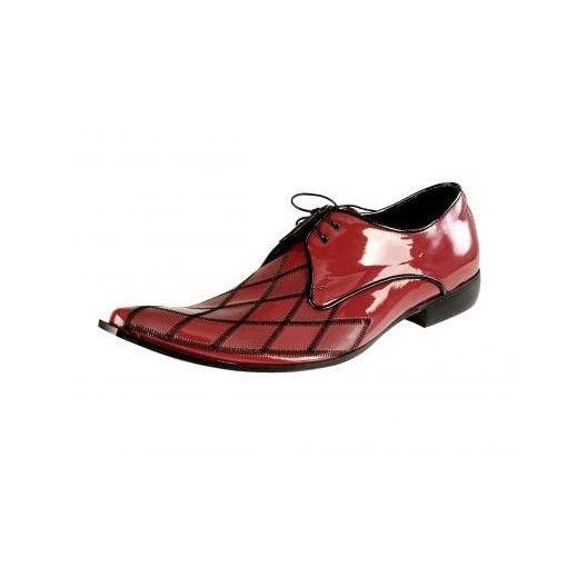 Pánske kožené extravagantné topánky lesklé červené PT048 - manozo.hu