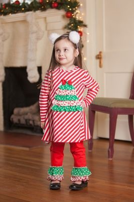 Peaches 'n Cream Girls Red Striped / Green Dots Christmas Tree Tunic with Ruffle Pants
