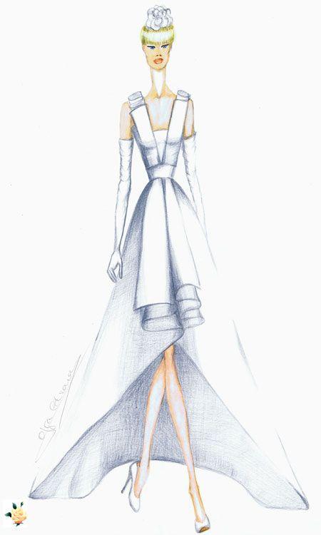 Vestido de novia en crep de lana