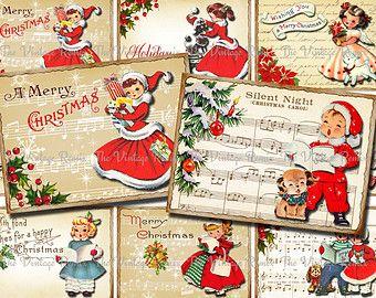 Instantánea descargar, etiquetas de regalo imprimibles de Navidad, etiquetas, hoja de Collage Digital, Retro Vintage chicas y chicos, aceo atc