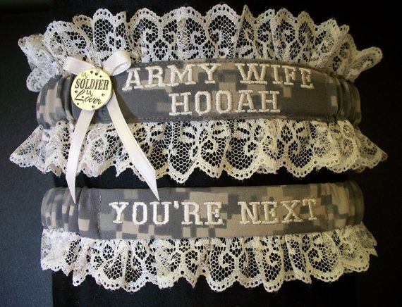 Army Garter Set With Army Wife And Hooah Embroidered On It In Acu Print  Fabric And
