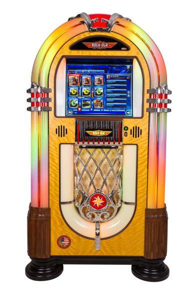 """Jukebox Rock - Ola Bubbler:    ESPECIFICAÇÕES  • Arion Software  • Monitor Touch Screen Anti-vandalismo 19""""  • Disco Rígido de 1 TB com capacidade para 100.000 músicas  • Amplificador 300 Watts RMS  • 5 alto-falantes JBL com sistema estéreo de 3 vias  • Conexão Wi-fi   DIMENSÕES  - Altura: 1,56cm  - Largura: 81cm  - Profundidade: 47cm  - Peso: 100kg  • Controle remoto sem fio"""