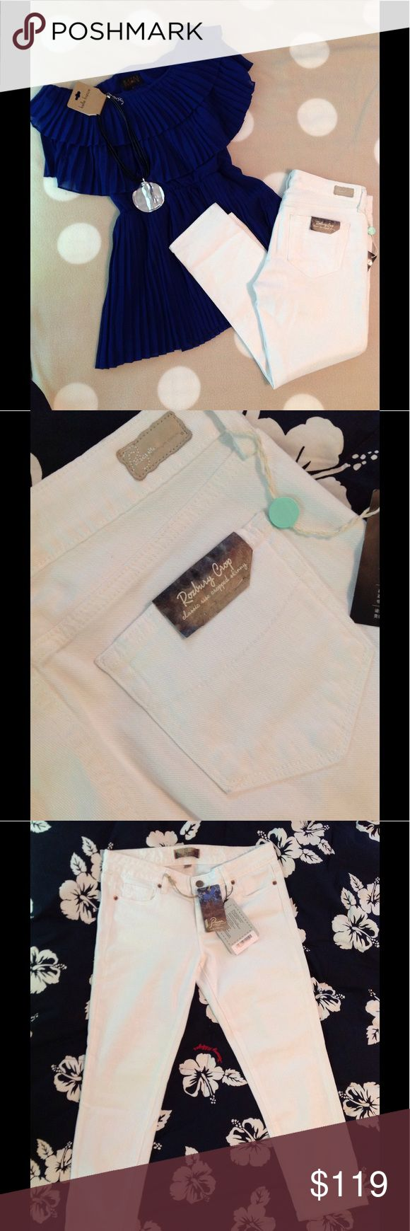 """NWT Paige Roxbury White Skinny Crop 28 Brand New With Tags. Paige 'Roxbury' Skinny Crop. Midrise. Zip fly. 5 pocket styling. Optic white. Skinny throughout leg. Approx 24"""" inseam, 8 1/8"""" rise.  99% cotton, 1% stretch. Size 28.    (Shown with Iman royal accordion pleat blouse M...leather/silver medallion...both also for sale) Paige Jeans Jeans Ankle & Cropped"""