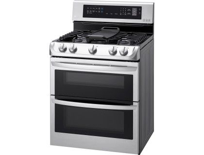 LG - 6.9 Cu. Ft. Gas Self-Cleaning Freestanding Double Oven Range with ProBake Convection - Stainless Steel - Left Zoom