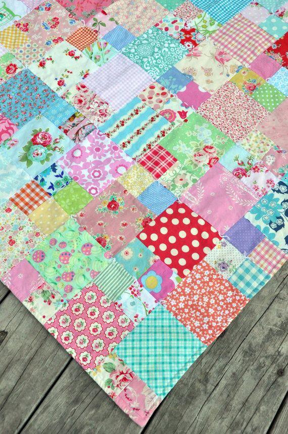 scrappy quilt bigger squares and pieced squares @Beth J J J J Johnson