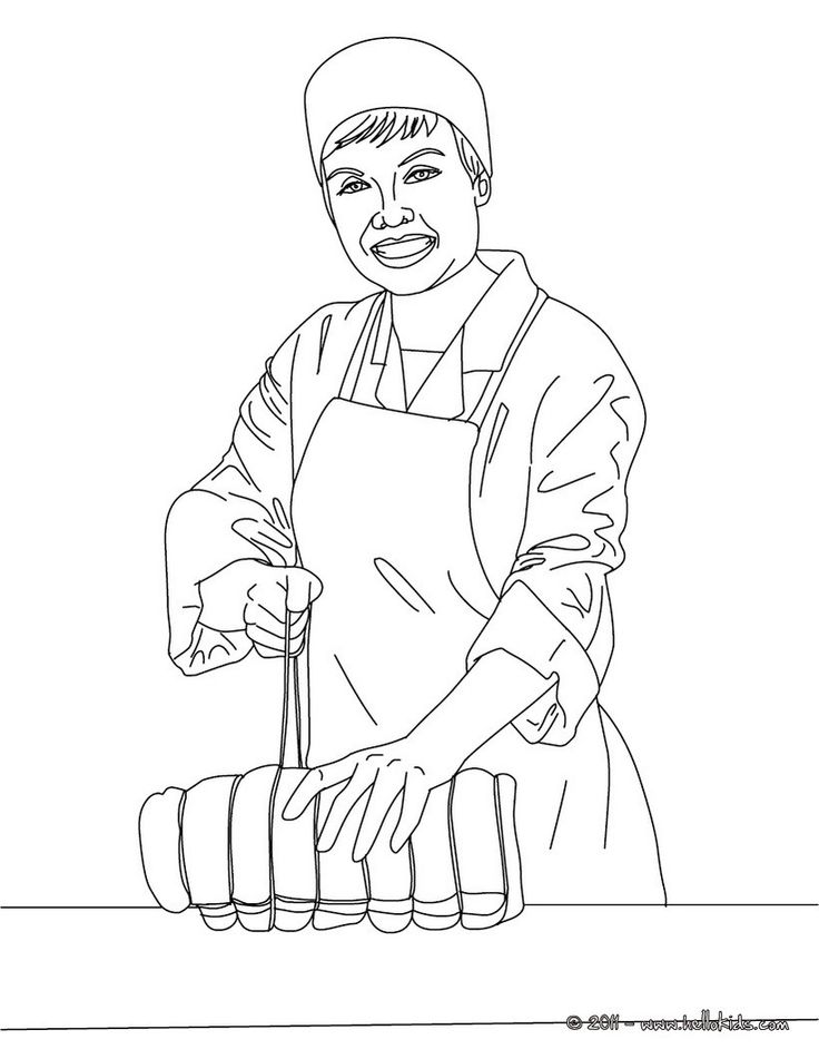 Butcher ties up a roast coloring page. Amazing way for kids to discover job. More original content on hellokids.com