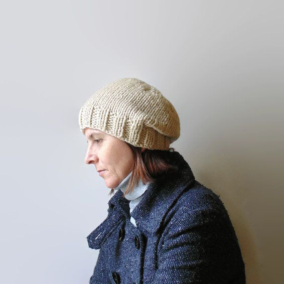 Beanie Hat Knitted in Antique White Soft Wool Blend by branda