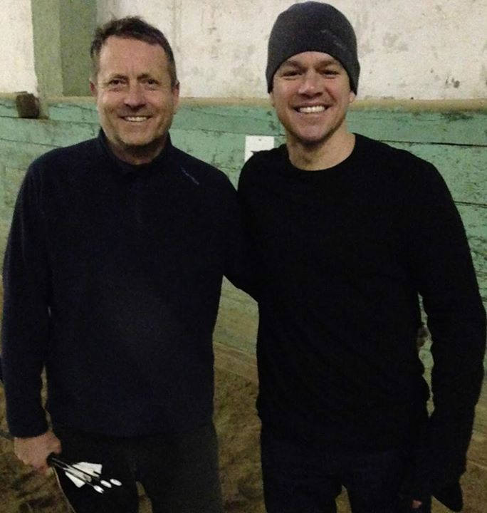 Matt Damon getting lessons from World record horse archer Lajos Kassai for the movie The Great Wall.