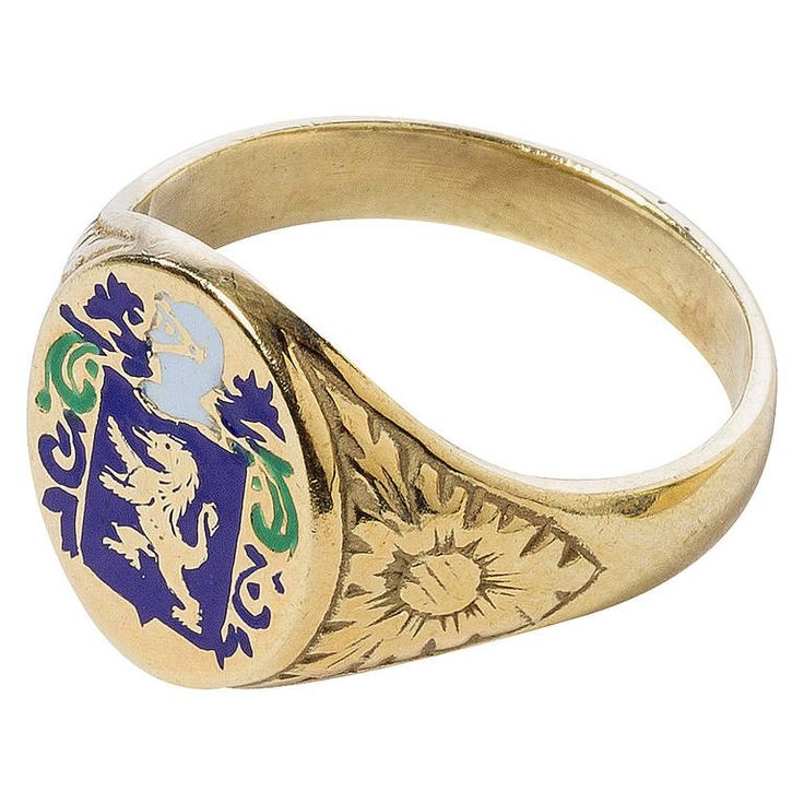 Heraldic Enameled Gold Ring | From a unique collection of vintage signet rings at https://www.1stdibs.com/jewelry/rings/signet-rings/