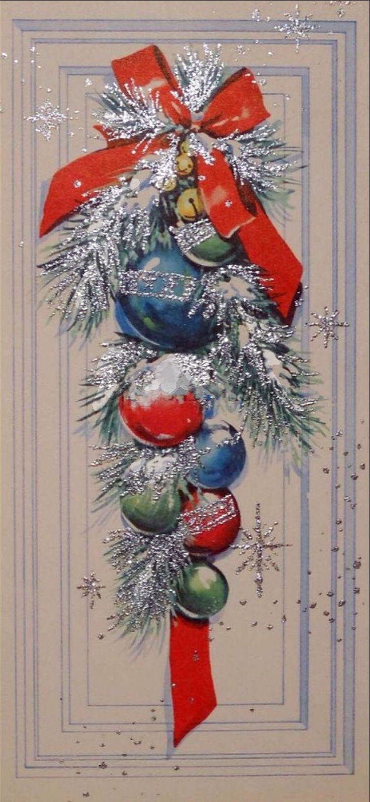 Sputnik christmas ornaments -  1674 50s Silver Glittered Festive Front Door Vintage Christmas Card Greeting