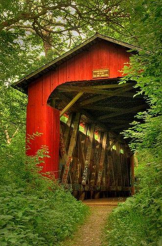 Hidden covered bridge (pathway now) in Yellow Springs, Ohio.