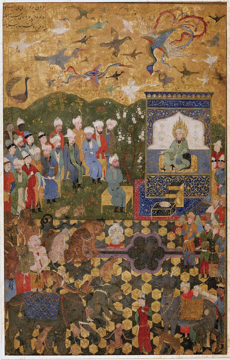 https://flic.kr/p/rQgsZq | SULEYMAN AND HIS COURT | بارگاه سلیمان ، اواخر قرن 15 میلادی 31 در 20 سانتیمتر AN ILLUSTRATED AND ILLUMINATED LEAF: SULEYMAN AND HIS COURT WITH THE JINNS, BIRDS AND ANIMALS, PERSIA, LATE 15TH CENTURY Gouache heightened with gold on paper, laid down on card, 3 lines of text in nasta'liq script in one column at the top left corner, 31 by 20cm.