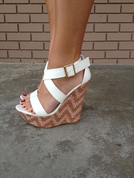White Buckle Up Wedges