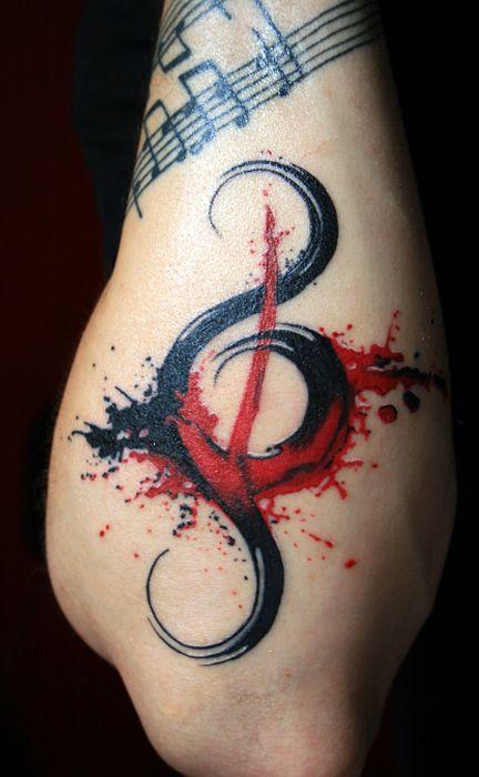 Music Key Tattoo by ~ HelloBlack : i like the splattering effect...