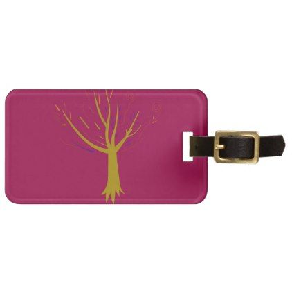 Mandala gold treen on purple luggage tag - vintage gifts retro ideas cyo