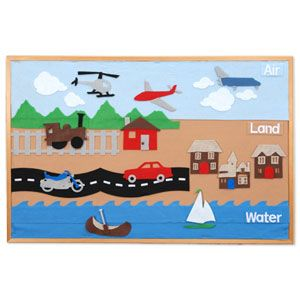 No templates, just image////Concept:  Create a felt board demonstrating different methods of transportation.  Objective:  Use a felt board to demonstrate transportation by land, sea and air to help youngsters visualize the ways people move from place to place