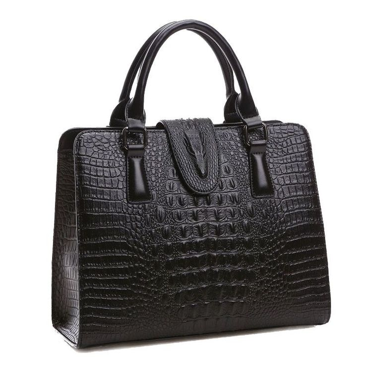Genuine Leather Crocodile Pattern Handbag