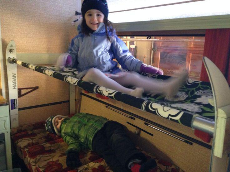 DIY folding caravan bunk bed.