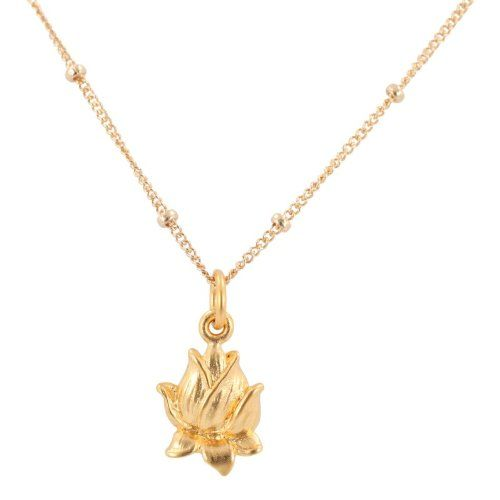 "Detailed Closed Lotus Flower Pendant in 24k Gold Plated Sterling Silver on a 16"" gold filled Saturn Chain Necklace,"