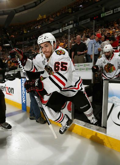 Andrew Shaw #65 of the Chicago Blackhawks takes the ice to play the Boston Bruins in Game Six of the 2013 Stanley Cup Final