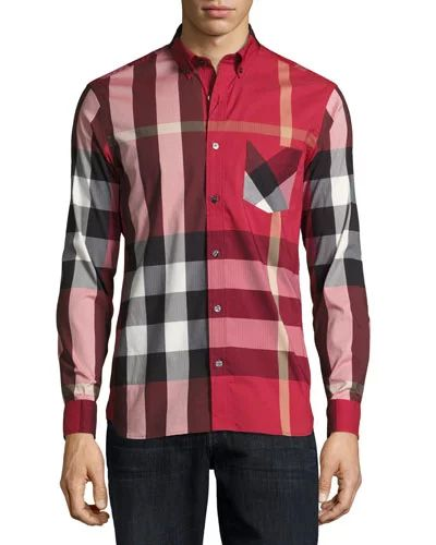 Thornaby Check Sport Shirt, Red