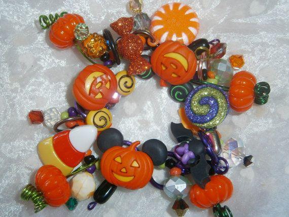 Mickey Mouse pumpkin bracelet/ Halloween/ by beadiebracelet