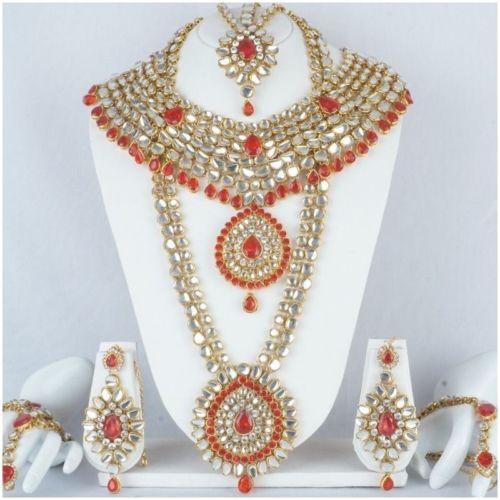 India-Bridal-Necklace-Set-Gold-Plated-Kundan-Handmade-Bollywood-Fashion-Jewellry