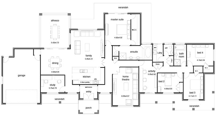 Hi there! I found another floor plan for you to look at. This one is quite open plan in the living area and the bedrooms are all up one end. I liked the entry with the wall in front, the WIR in the Master is fabulous and the Activity room is a winner! Click on …