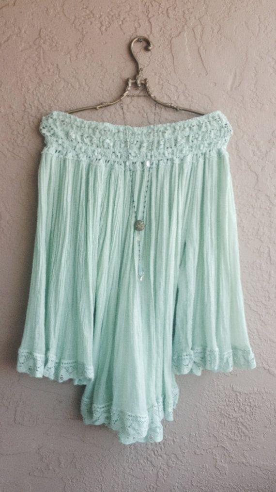 Mint green Gauze peasant cape sleeve beach tunic by BohoAngels, $180.00