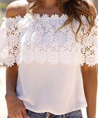 Stylish Slash Collar Short Sleeve Solid Color Spliced Women's Blouse Blouses | RoseGal.com Mobile