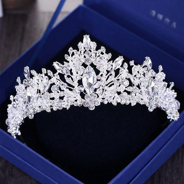 Baroque luxe strass perles coeur mariée diadème couronne argent cristal diadème voile diadèmes mariage cheveux accessoires chapeaux