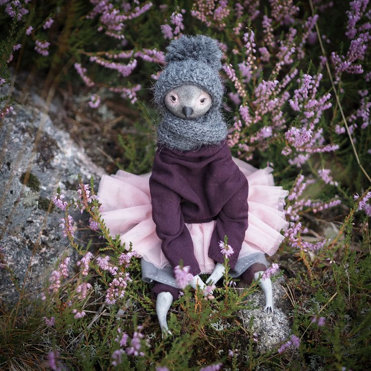 Art doll Purple Bird