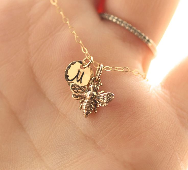 Tiny Honey Bee Necklace Gold Initial Charm Necklace