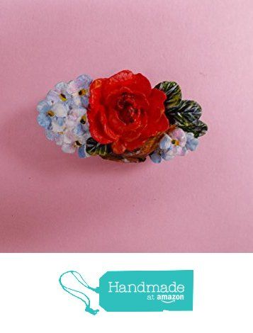Hand Painted Small RED ROSE & FORGET-ME-NOT BROOCH Floral Cameo Lapel Flower Pin- By Artist Kerry Williams from Kerry's Works Of Art https://www.amazon.co.uk/dp/B01LX8SUAG/ref=hnd_sw_r_pi_dp_8E97xb3G9F0MV #handmadeatamazon