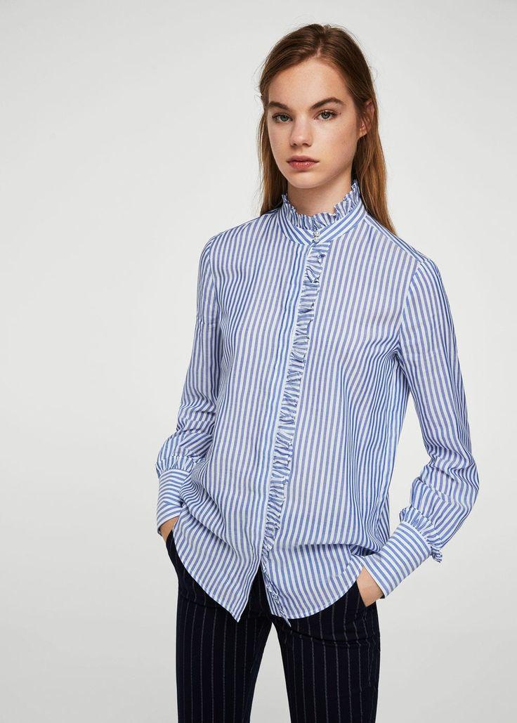 Camisa cuello mao rayas - Camisas de Mujer   MNG Colombia