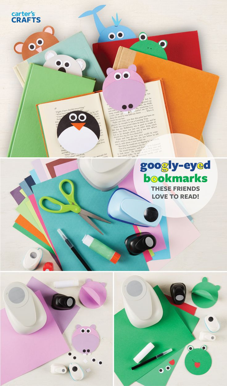 Save the spot in your favorite story with a googly-eyed friend! Use a big circle punch on card stock or construction paper, gluing two pieces together (top half only) to create a bookmark. We like animals to keep an eye on our books!