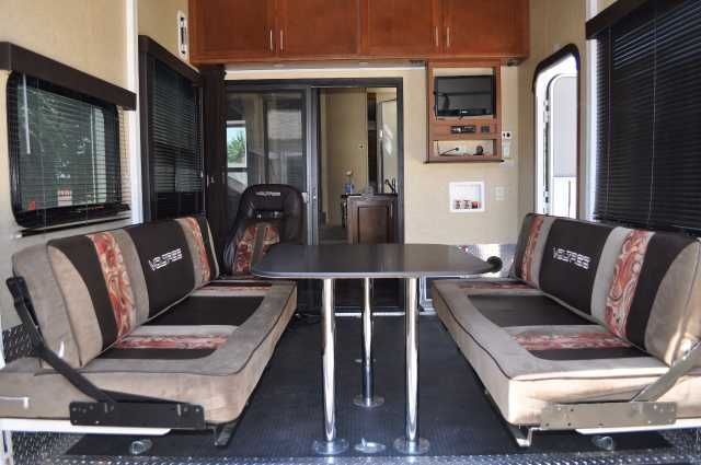 """2012 Used Dutchmen Voltage 3200 Toy Hauler in California CA.Recreational Vehicle, rv, 2012 Dutchmen Voltage 3200, 2012 Voltage 3200 with Epic Package for sale. This 5th wheel is in great condition and is loaded with every upgrade you can have. This 5th wheel is very well maintained, used for camping and never used """"full time"""", washed after every use, generator exercised monthly, stored at my house with a RV cover. I have upgraded the tires with Commercial grade trucking tires 6 months ago, 2…"""