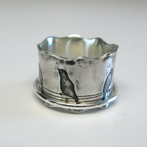 Birds on a Wire Sterling Silver Spinner Ring by janiceartjewelry, $98.00