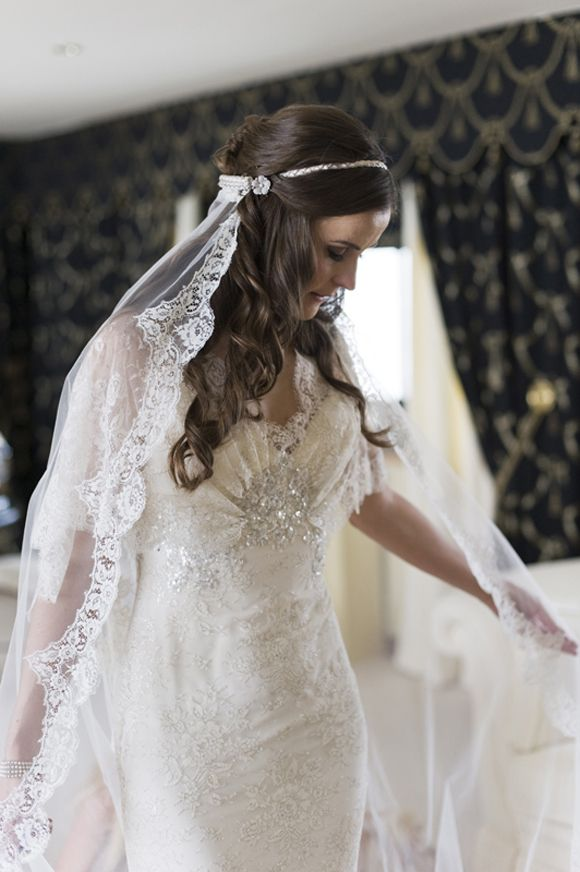 Elie Saab dress with veil on handband and loose hair for ceremony...Love this for Grace..