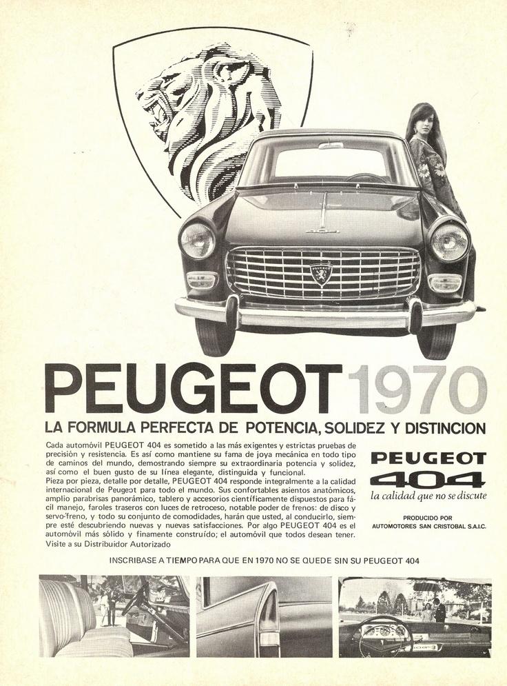 AUTOS CHILENOS: AVISO PUBLICITARIO PEUGEOT 404 (1970)