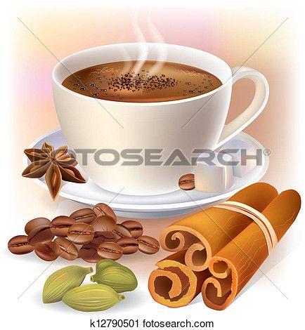 aromatisch, koffie, met, kruiden Bekijk Grotere Grafiek