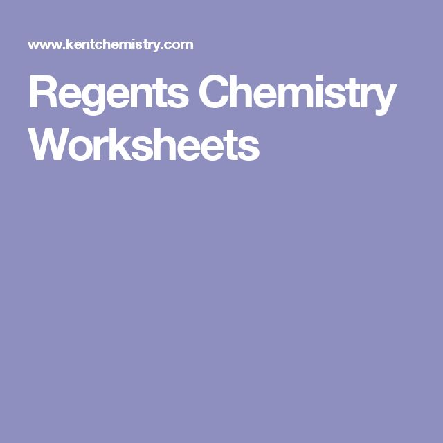 Regents Chemistry Worksheets