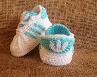 Boost 350 baby sneakers newborn booties gift by uncinettocrochet